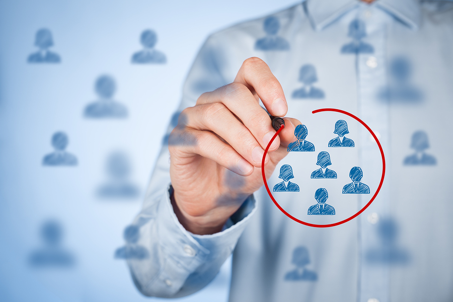 Marketing segmentation target audience customers care customer relationship management (CRM) customer analysis and focus group concepts.
