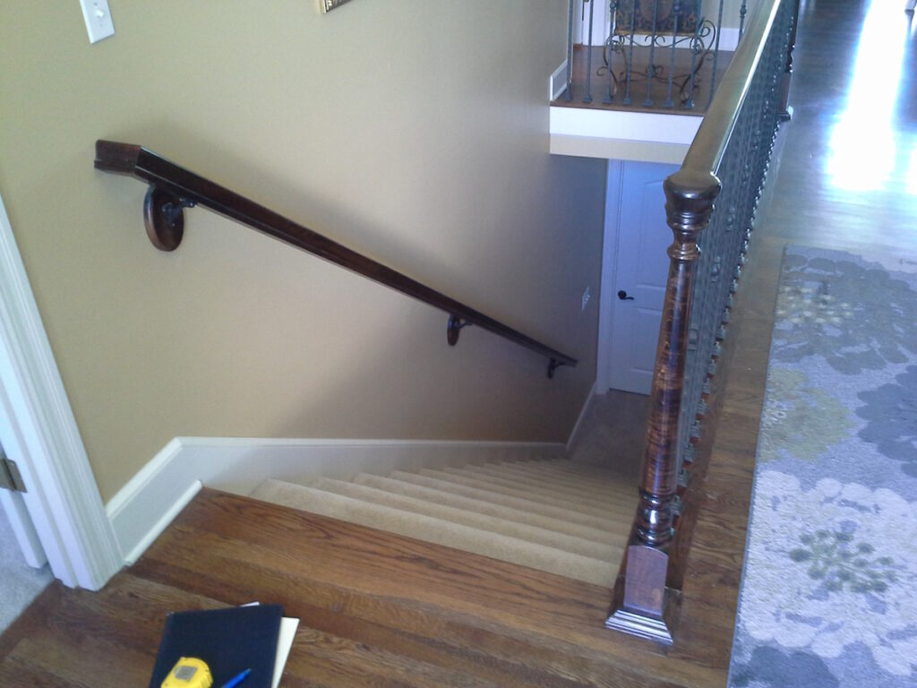 Photo: Wooden Handrail installed by Accessibility Remodeling