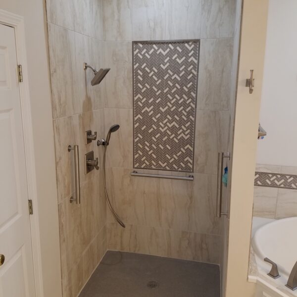 Photo: Barrier Free Shower installed by Accessibility Remodeling
