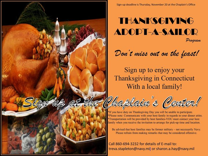 2014 Subase New London Adopt a Sailor Thanksgiving Dinner Facebook Posting