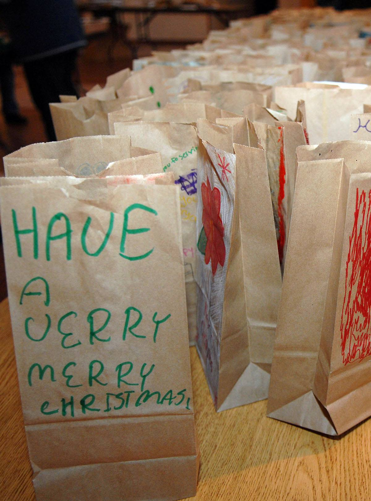 Bags of holiday cookies are destined for single servicemembers
