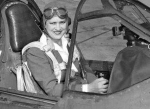 Photo of Jacqueline Cochran in plane