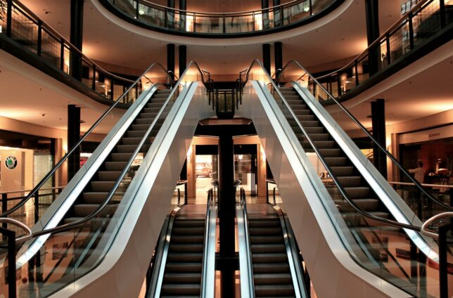 Escalators in a building
