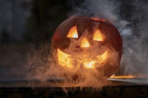 A Jack-o-Lantern with Smoke Coming out of it