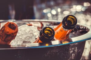 bottles of champagne on ice