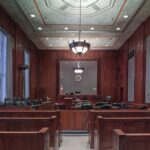 The inside of a courtroom