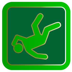 A graphic of a person falling