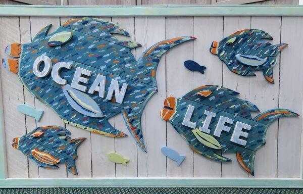 Wood Cut Ocean Life