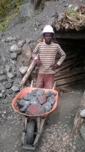 Larimar miner and stone