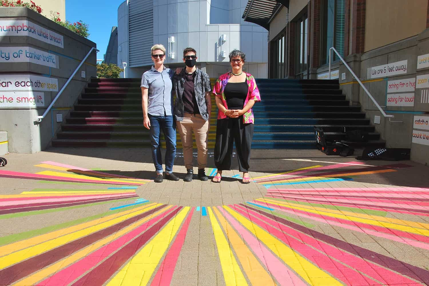 Lauren Semple, Lys Glassford and Tina Biello collaborate on a Covid-19 placemaking artwork