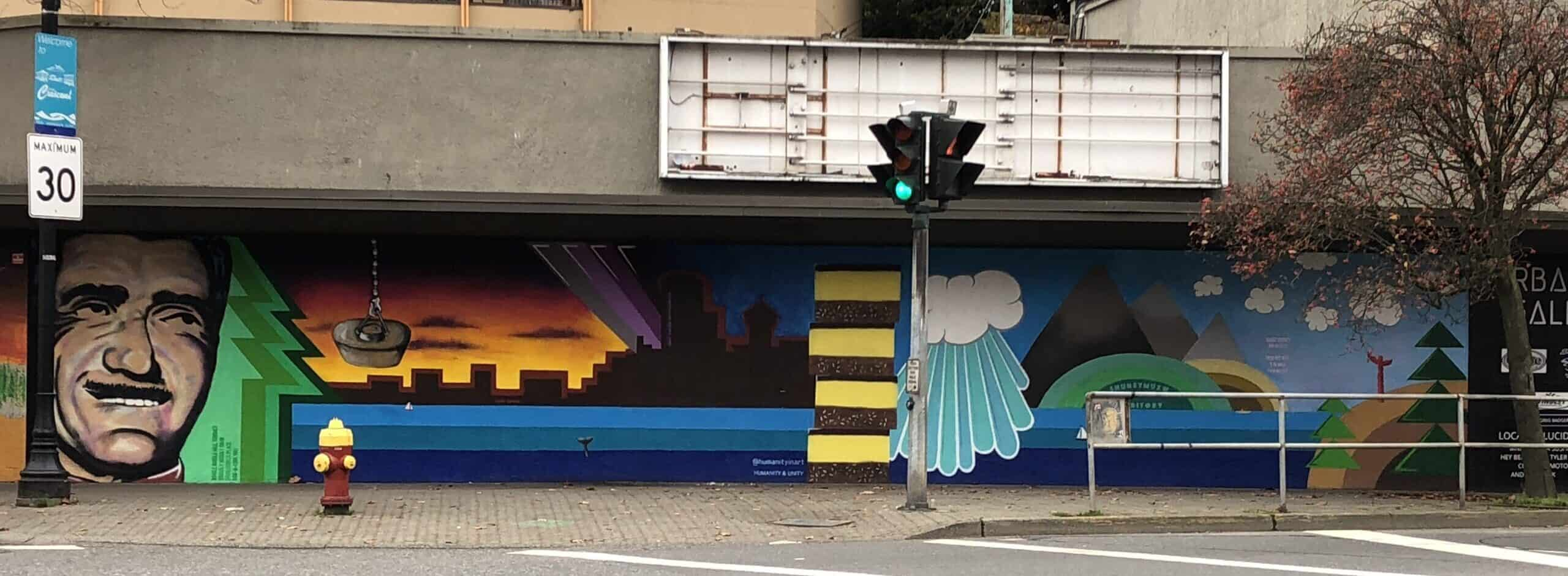 Mural featuring quirky items of Nanaimo