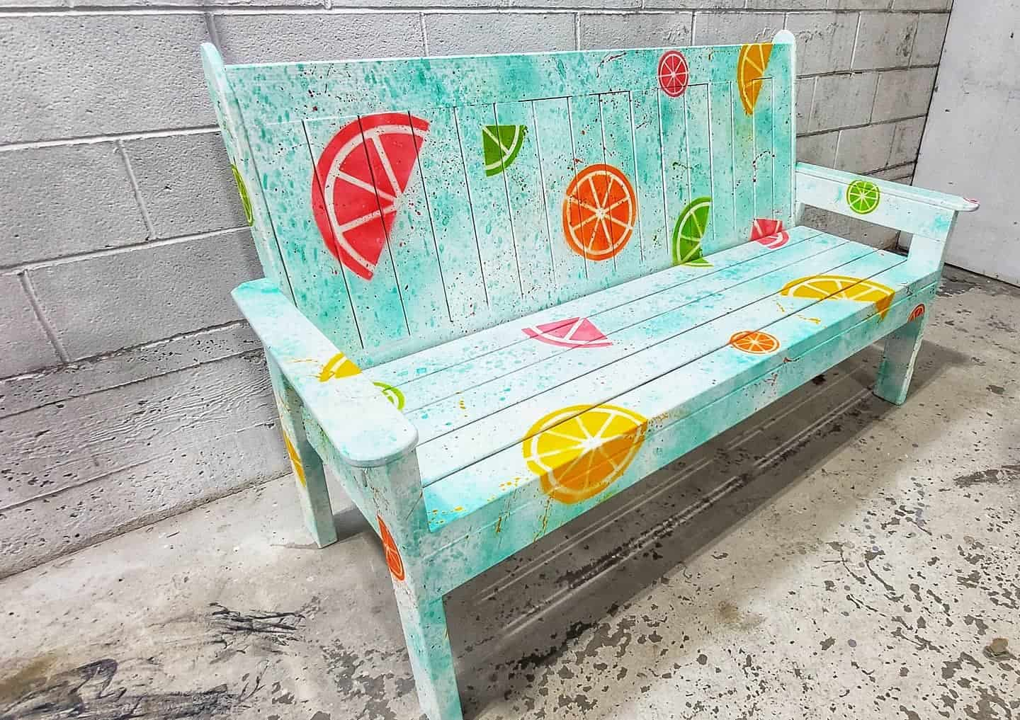 Bench painted with colour citrus fruits