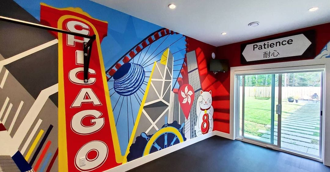 interior mural created by humanity in art, featured pieces of Hong Kong