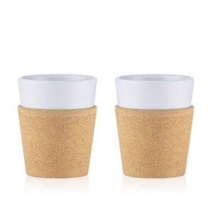 Set x2 tazas de porcelana y corcho Bodum 0,3L
