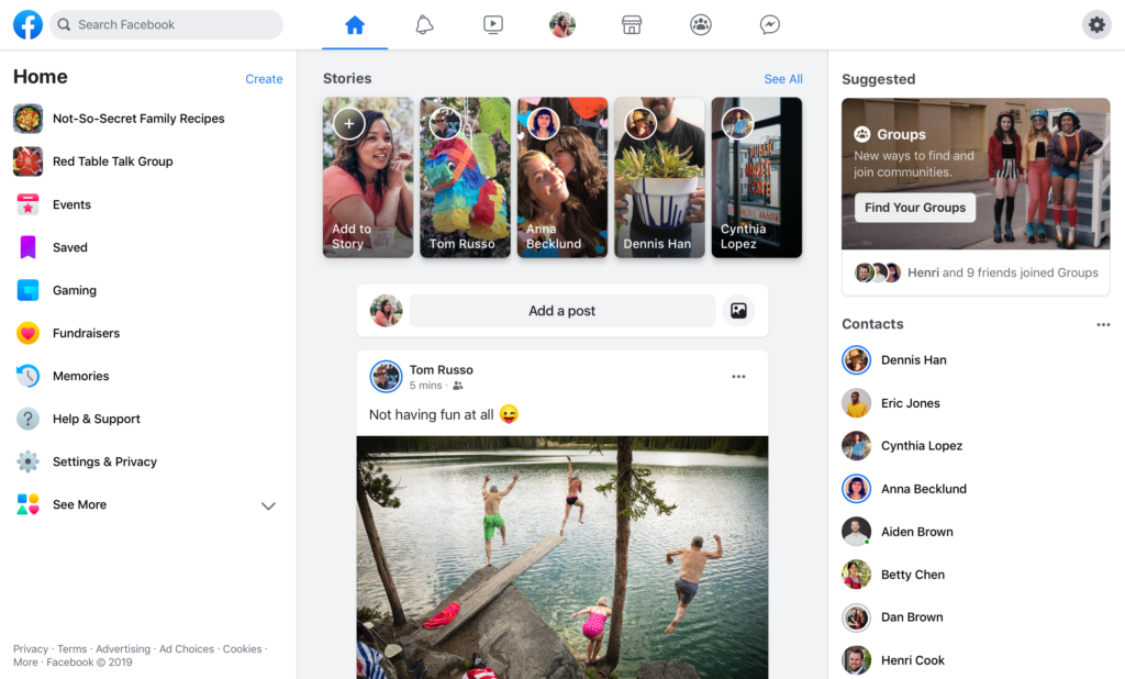 Facebook Blue Bar Disappears