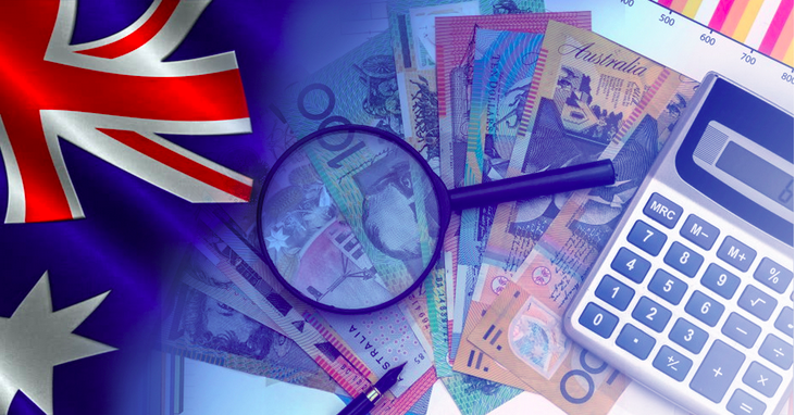 Australian money with national flag