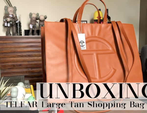 TELFAR Large Shopping Bag in Tan, 2020.