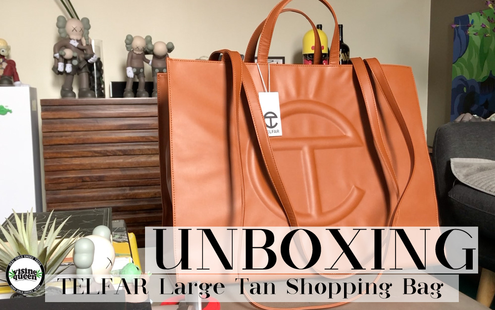 TELFAR Large Shopping Bag in Tan, 2020.