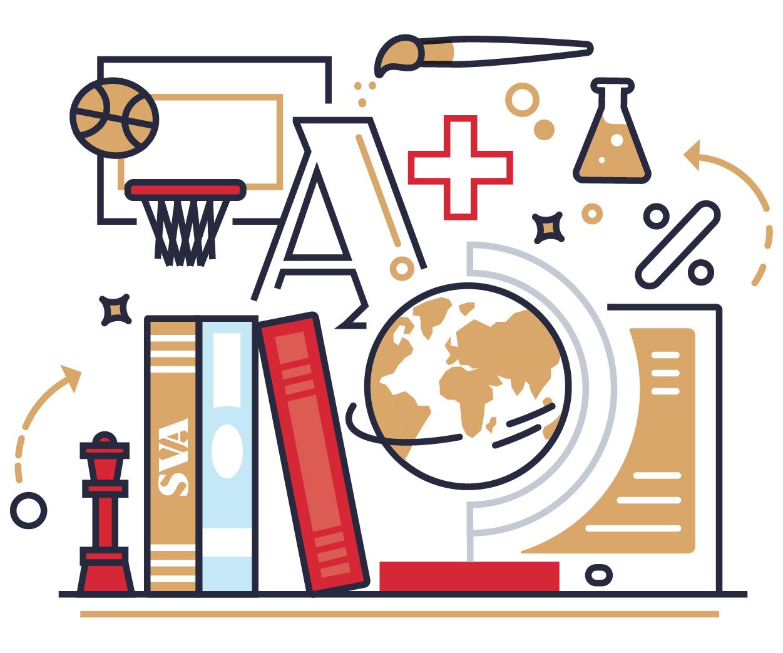 Illustration: Books, basketball hoop, globe, programs