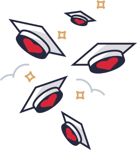 Illustration: Caps and hearts in the air