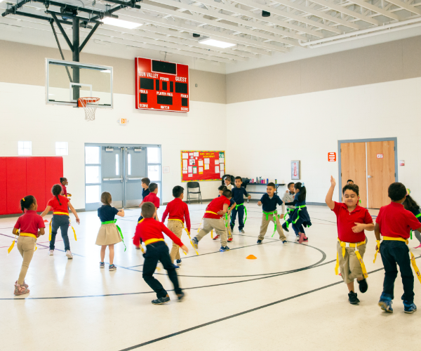 Photo: Students playing in the gym