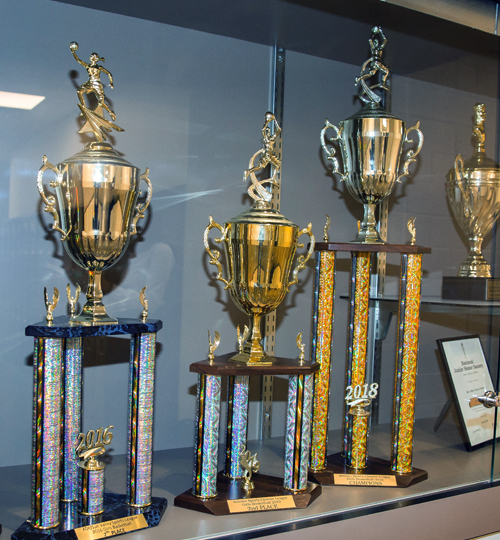Photo: Sports trophies in trophy case