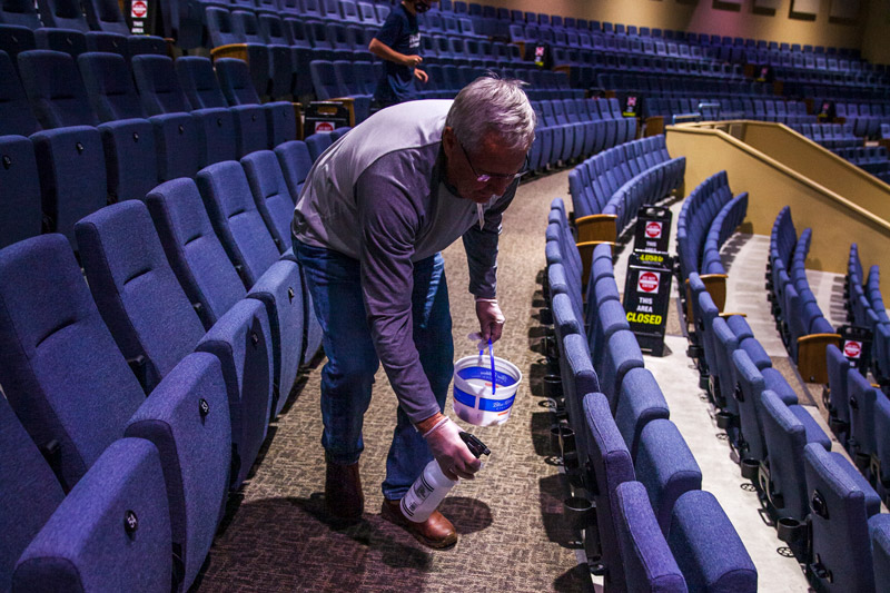 Cleaning auditorium