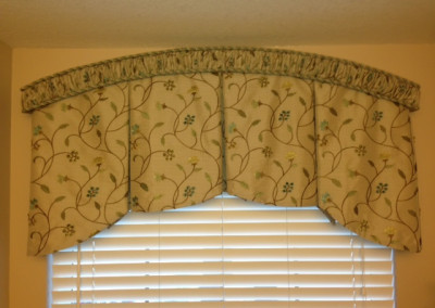 Arched shirred cornice with arch inverted pleat valance
