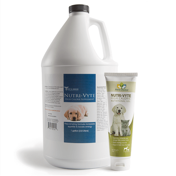 Group shot of Nutri-Vyte High Calorie Supplement for dogs and cats in 1 gallon and 4.25 ounce containers