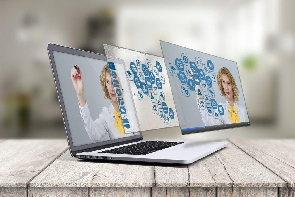 laptop, prezi, 3d presentation