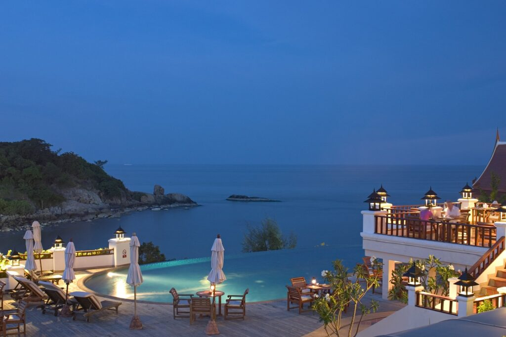 hotel, pool, sea