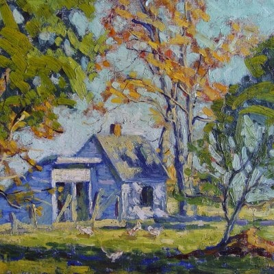 Helen Fuchs Gundlach The Chicken Coop 8x10 Oil on Board