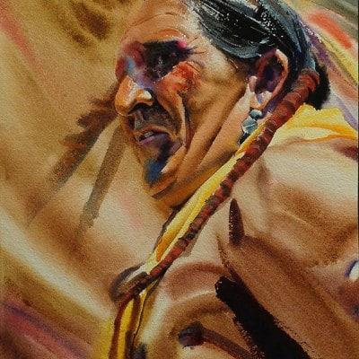 Allen Polt Indian Medicine Man 16x12 Watercolor