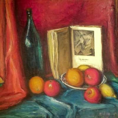 Alta West Salisbury Still Life with Fruit 24x24 Oil on Canvas