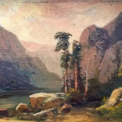 Clarence Ellsworth Black Canyon Utah 1907  4x6 oil on board 350