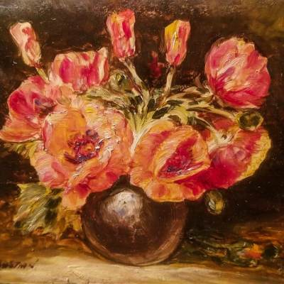 Glenn F Bastian Red Poppies 5x6 Oil on Board