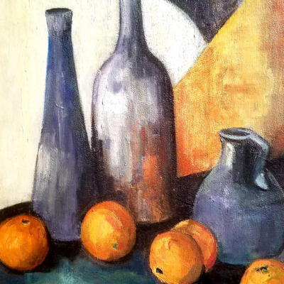 Helene Dubon Hyde Modernist Still Life 30x24 Oil on Board