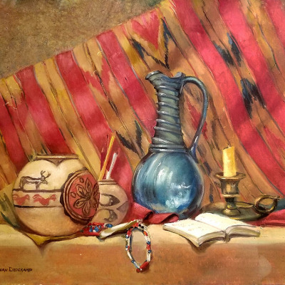 Jean Drogkamp Still Life with Jug 20x24 oil on canvas $475