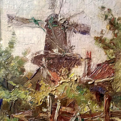Th. Wiggins The Windmill 7x5 oil on board 125