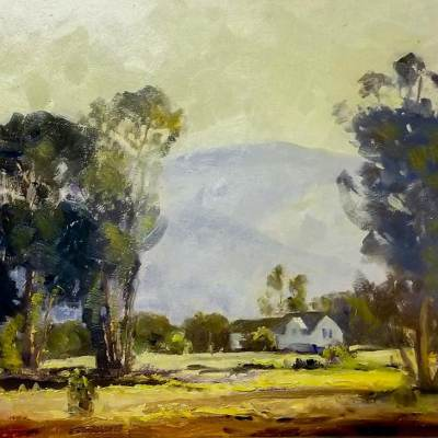 Unknown Artist House in a Landscape 13x17 Oil on Board