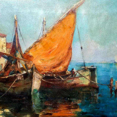Unknown Artist Chiogga Boats in a Harbor 12x16 Oil on Canvas