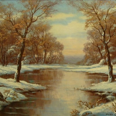 Anton Gutenknecht Winter's Stream 20x24 Oil on Canvas