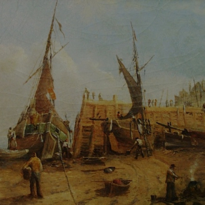 Augustus Vincent Tack The Shipyard 9x14 Oil