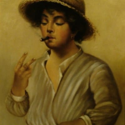 L E Cook Smoking Boy 17x13 Oil on Canvas