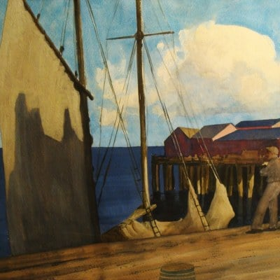 Robert Wesley Amick Ready to Sail in Sausalito 22x30 Watercolor