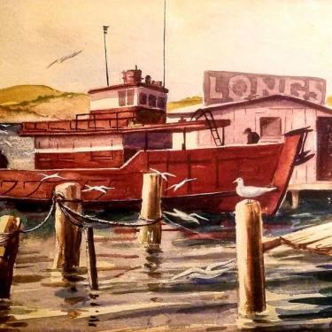 Adolphine Sutro Fullerton Longs Dock 11x17 Watercolor