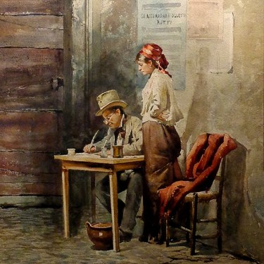 Casimiro Tomba Aldini Checking the Figures 21x14 Watercolor