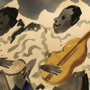 Dorothy Sklar Cuban Guitarists 5x7 Watercolor