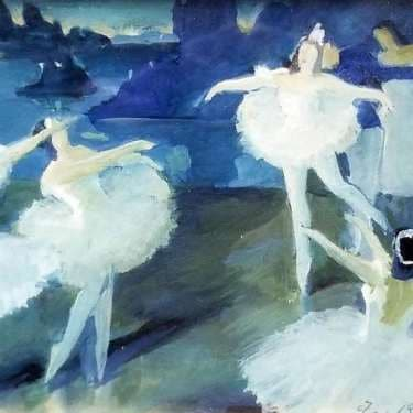 Fred Doyle Penny Ballerinas 5x7 Watercolor