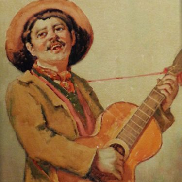 Henry L Richter Guitar Player 14x12 Watercolor